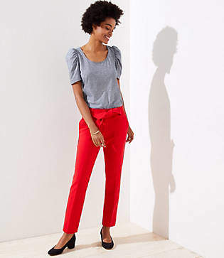 LOFT Petite Slim Tie Waist Pencil Pants in Marisa Fit