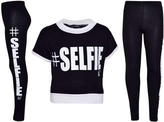 a2z4kids Girls Top Kids #Selfie Print Designer T Shirt & Fashion Legging Set 7-13 Years