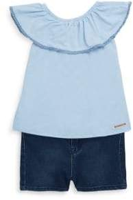 Hudson Baby Girl's Two-Piece Off-the-Shoulder Top and Denim Shorts Set