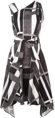 Josie Natori taisho stripe belted dress