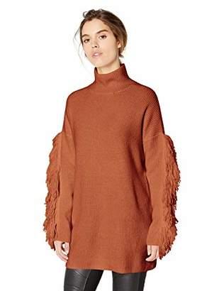 BCBGMAXAZRIA Women's Fringe Turtleneck Tunic Sweater