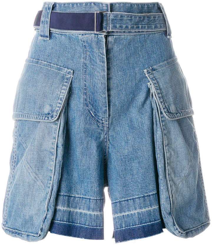statement pockets denim shorts