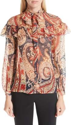 Etro Paisley Print Chiffon Ruffle Blouse