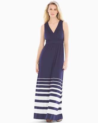 Shirred Bodice Maxi Dress Sanctuary Stripe Navy