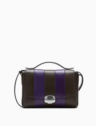 Calvin Klein folded striped leather crossbody bag
