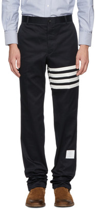 Thom Browne Navy Seamed Four Bar Unconstructed Chino Trousers