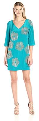 Trina Turk Women's Glitterati Silk Crepe de Chine Embellished Dress
