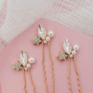 Morgan Melissa Designs Pearl And Diamante Gold Bridal Hair Pins