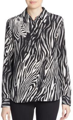 EquipmentBrett Silk Zebra-Print Blouse