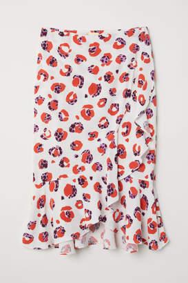 H&M Flounced Wrap-front Skirt - Beige
