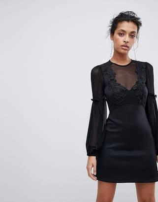 Asos Design Blouson Lace A-Line Mini Dress