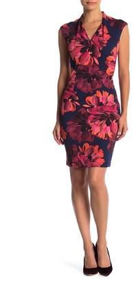 London Times Scuba Crepe Midi Sheath Dress (Petite)