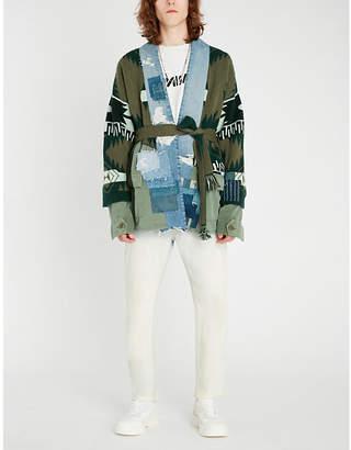 Greg Lauren Alanui x denim-panel cotton and cashmere-blend cardigan