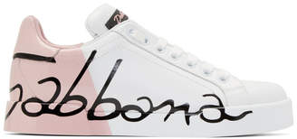 Dolce & Gabbana White and Pink Writing Sneakers