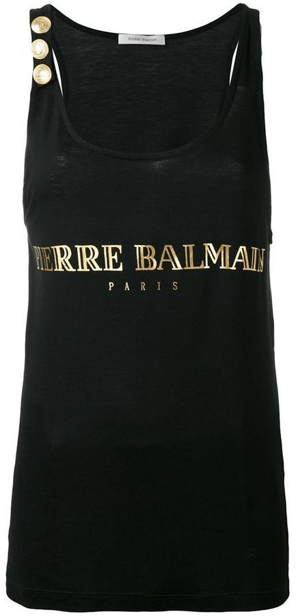 BalmainPierre Balmain logo print tank top