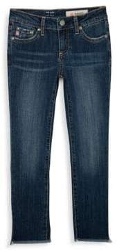 AG Adriano Goldschmied kids Girl's The Izzy Crop Embellished Frayed Triangle Hem Jeans