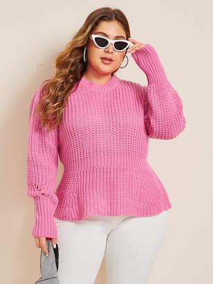 Shein Plus Peplum Chunky Knit Sweater