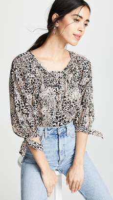 Rebecca Taylor Long Sleeve Leopard Poplin Top