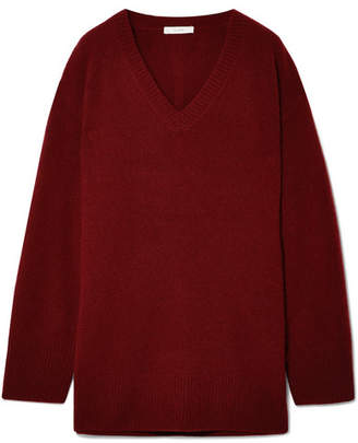 The Row Sabrinah Oversized Cashmere And Silk-blend Sweater - Burgundy