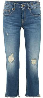 R 13 Distressed Low-rise Straight-leg Jeans