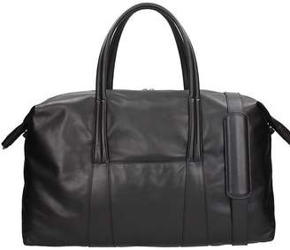 Maison Margiela Duffle Bag In Black Leather