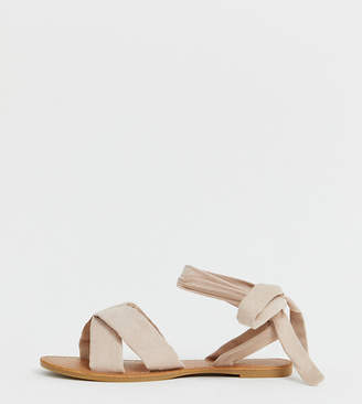 Park Lane wide fit tie leg flat sandal