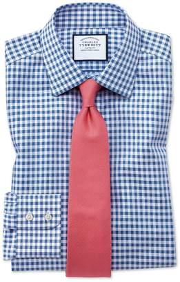 Charles Tyrwhitt Classic Fit Non-Iron Gingham Mid Blue Cotton Dress Shirt Single Cuff Size 16.5/33