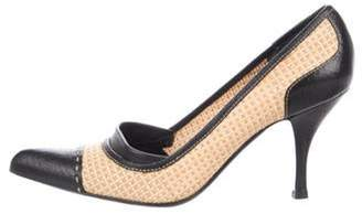 Prada Woven Leather-Trimmed Pumps Tan Woven Leather-Trimmed Pumps