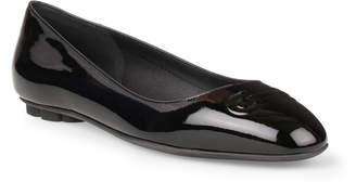 Salvatore Ferragamo Broni black patent leather ballerinas
