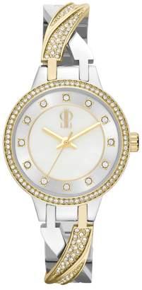 Jennifer Lopez Women's Julia Two Tone Stainless Steel Half-Bangle Watch $85 thestylecure.com