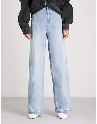Mo&Co. Faded high-rise wide-leg jeans