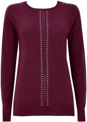 Wallis Berry Sparkle Sleeve Detail Jumper