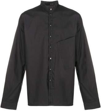Isabel Benenato collarless slant pocket shirt