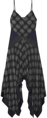 Diane von Furstenberg Silk Satin-paneled Printed Crepe Midi Dress - Black