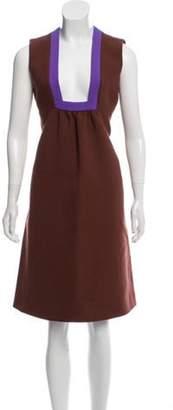 Prada Sleeveless Wool Dress Brown Sleeveless Wool Dress