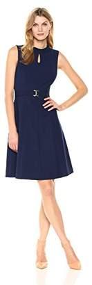 Ellen Tracy Women's A-line Dress with Buckle