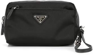 Prada logo plaque make up bag
