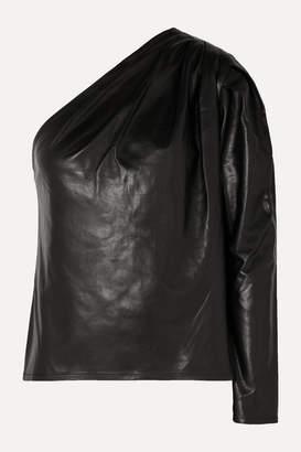 IRO Molia One-sleeve Leather Top - Black