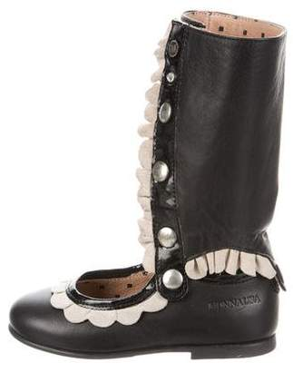 MonnaLisa Girls' Leather Ballerina Flats