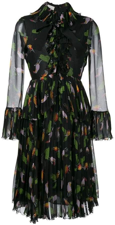 Gucci toucan print ruffle dress