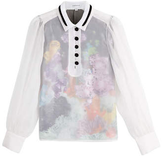 Carven Sheer Blouse with Floral Underlay