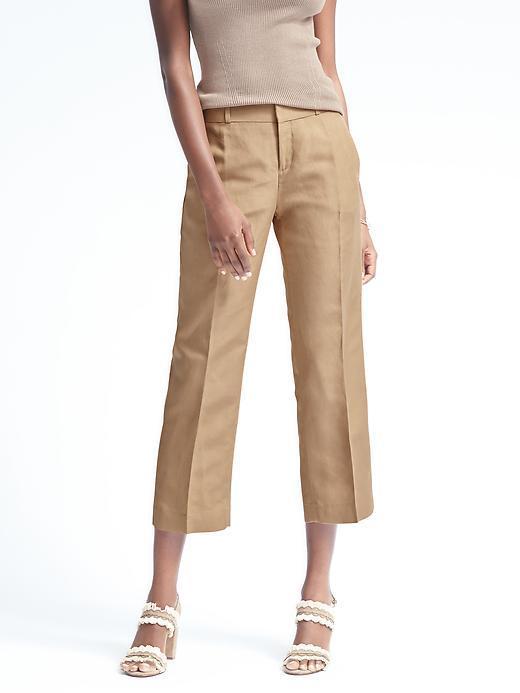 Banana Republic Logan-Fit Crop Linen-Blend Pant