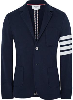 Thom Browne Slim-Fit Striped Loopback Cotton-Jersey Blazer $1,160 thestylecure.com