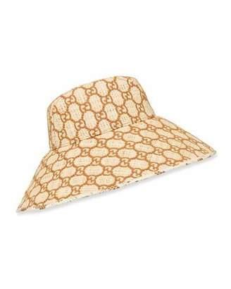Gucci Raffia Interlocking G Embroidered Bucket Hat w/ Snakeskin Trim