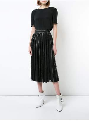 ADAM by Adam Lippes Silk Crepe Pleated Skirt With Crystal Embroidery And Lace Insets
