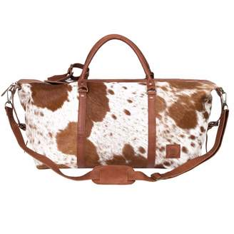 MAHI Leather - Leather Long Armada Duffle Large Weekend / Overnight Holdall Bag - Animal Print Pony Hair