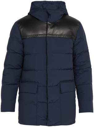 Bottega Veneta Leather panel wool-blend down jacket