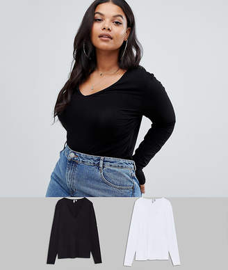 Asos Design Curve Ultimate Top With Long Sleeve And V-Neck 2 Pack