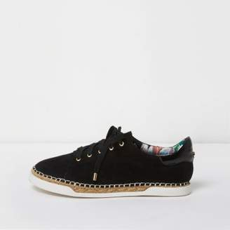 River Island Black lace-up espadrille sneakers