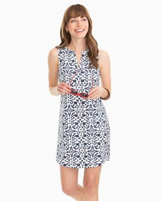 Southern Tide Robyn Geo Print Sleeveless Shift Performance Dress